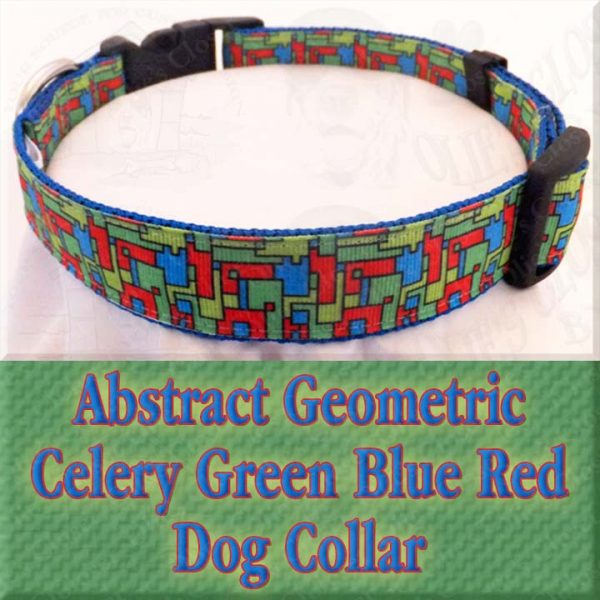 Abstract Geometric Puzzle Blocks Celery Green Blue Red Designer Dog Collar Product Image No5