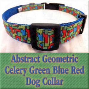 Abstract Geometric Puzzle Blocks Celery Green Blue Red Designer Dog Collar Product Image No3