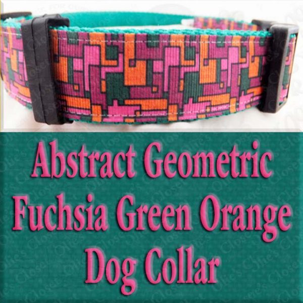 Abstract Geometric Puzzle Fuchsia Pink Green Orange Designer Dog Collar Product Image No1