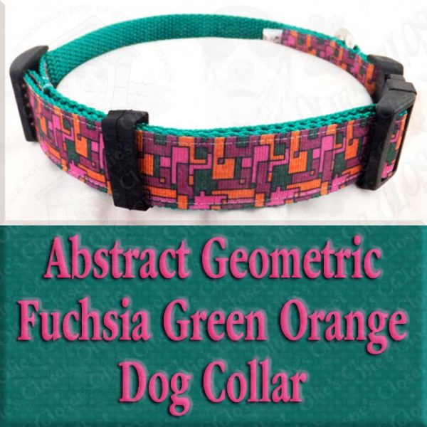 Abstract Geometric Puzzle Fuchsia Pink Green Orange Designer Dog Collar Product Image No4