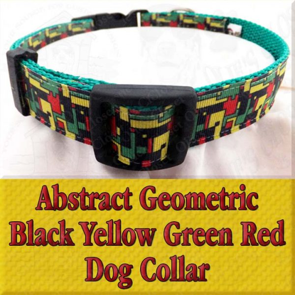 Abstract Geometric Puzzle Black Yellow Green Red Designer Dog Collar Product Image No1
