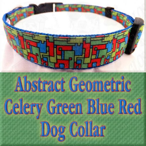 Abstract Geometric Puzzle Blocks Celery Green Blue Red Designer Dog Collar Product Image No6