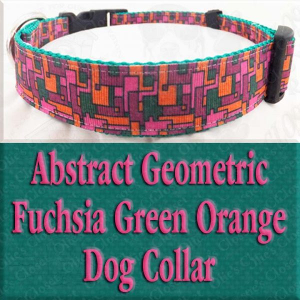 Abstract Geometric Puzzle Fuchsia Pink Green Orange Designer Dog Collar Product Image No2