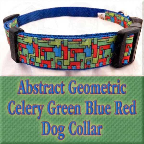 Abstract Geometric Puzzle Blocks Celery Green Blue Red Designer Dog Collar Product Image No2