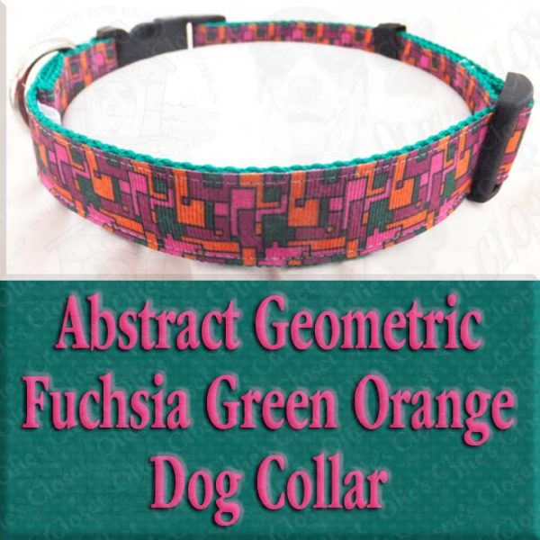 Abstract Geometric Puzzle Fuchsia Pink Green Orange Designer Dog Collar Product Image No3