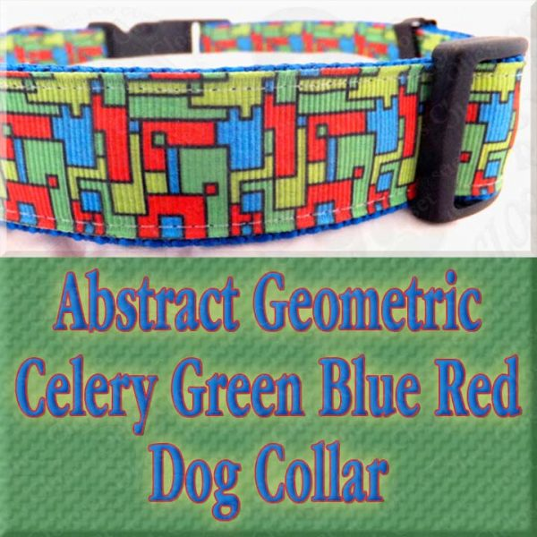 Abstract Geometric Puzzle Blocks Celery Green Blue Red Designer Dog Collar Product Image No7
