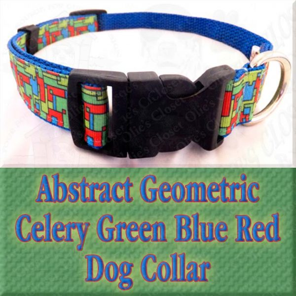 Abstract Geometric Puzzle Blocks Celery Green Blue Red Designer Dog Collar Product Image No4