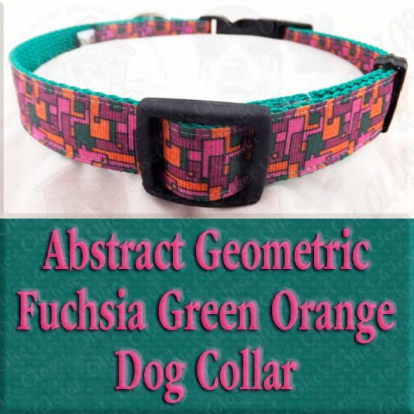 Abstract Geometric Puzzle Fuchsia Pink Green Orange Designer Dog Collar Product Image No5