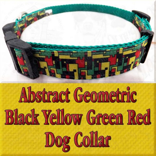 Abstract Geometric Puzzle Black Yellow Green Red Designer Dog Collar Product Image No5