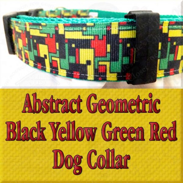 Abstract Geometric Puzzle Black Yellow Green Red Designer Dog Collar Product Image No4