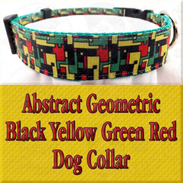 Abstract Geometric Puzzle Black Yellow Green Red Designer Dog Collar Product Image No3