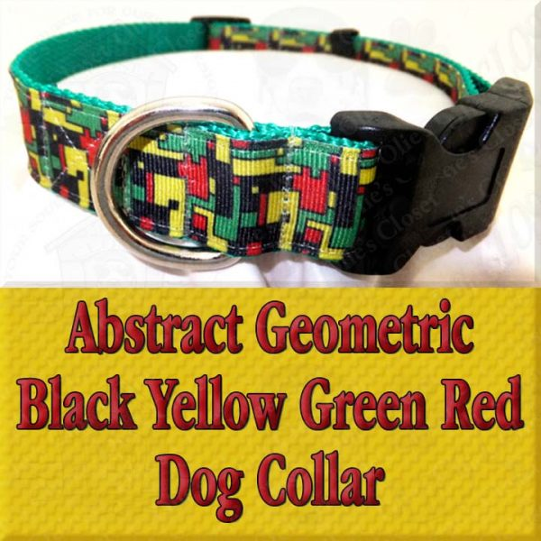 Abstract Geometric Puzzle Black Yellow Green Red Designer Dog Collar Product Image No2