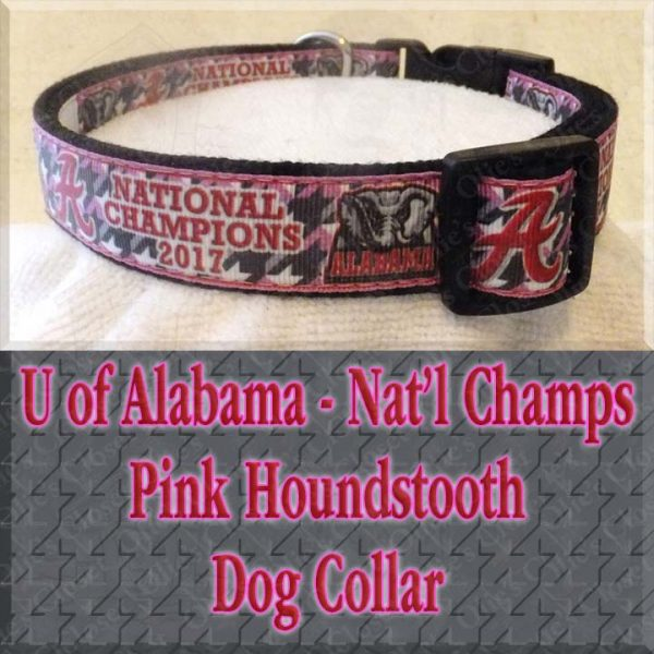 University of Alabama National Football Champions Pink Houndstooth Designer Dog Collar Product Image No1