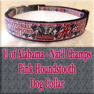 University of Alabama National Football Champions Pink Houndstooth Designer Dog Collar Product Image No3