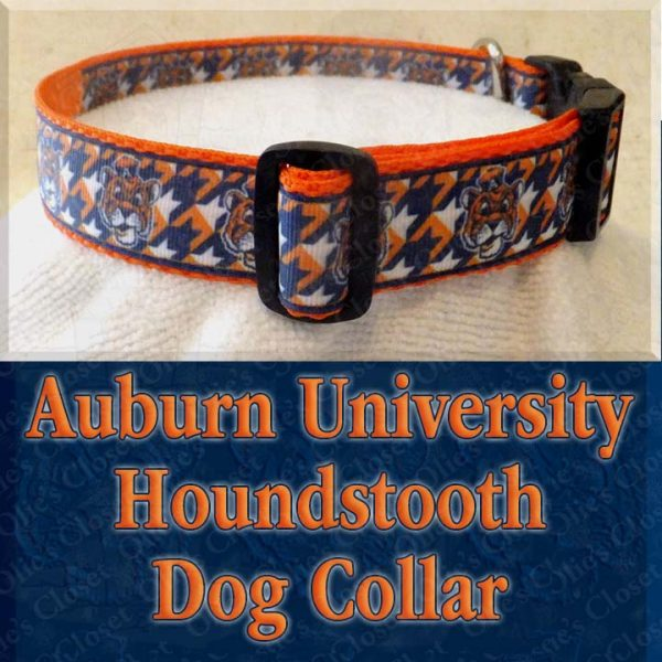 Auburn University Tigers Houndstooth Designer Dog Collar Product Image No2