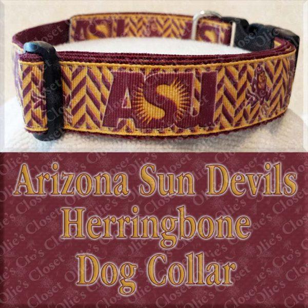 Arizona Sun Devils Herringbone Dog Collar Product Image No2