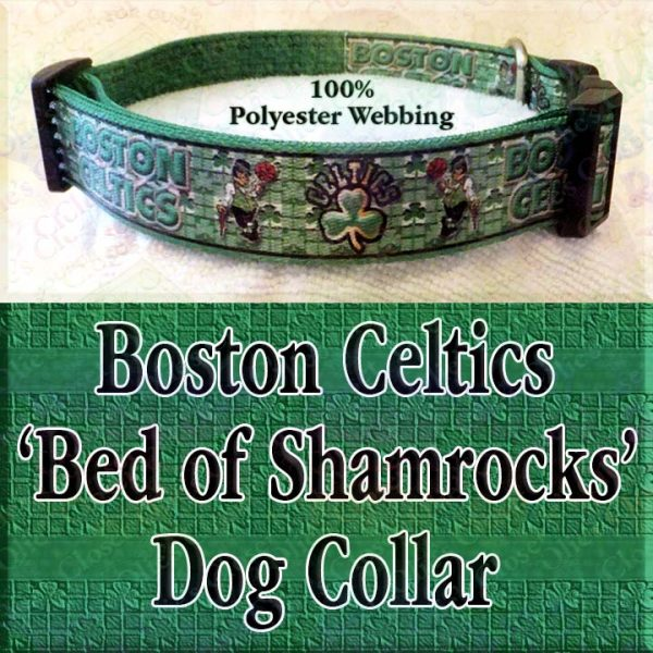 Boston Celtics Basketball Irish Shamrock Background Polyester Webbing Designer Dog Collar Product Image No2