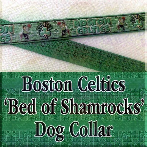 Boston Celtics Basketball Irish Shamrock Background Polyester Webbing Designer Dog Collar Product Image No1