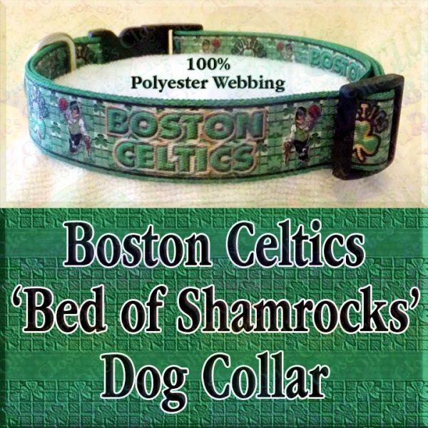 Boston Celtics Basketball Irish Shamrock Background Polyester Webbing Designer Dog Collar Product Image No4