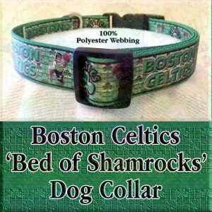 Boston Celtics Basketball Irish Shamrock Background Polyester Webbing Designer Dog Collar Product Image No3