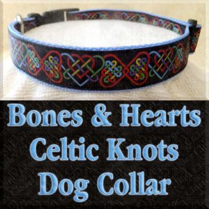 Bones and Hearts Celtic Knots on Black Designer Dog Collar Product Image No2
