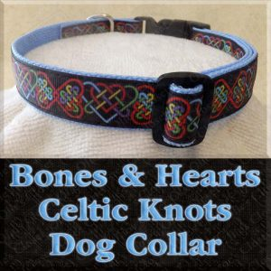 Bones and Hearts Celtic Knots on Black Designer Dog Collar Product Image No1