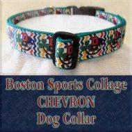 Boston Sports Teams Collage Chevron Designer Dog Collar Product Image No3