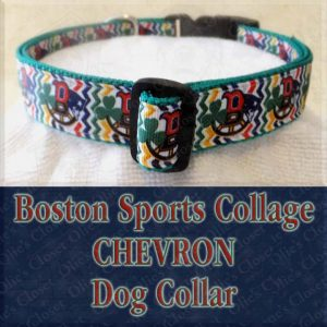 Boston Sports Teams Collage Chevron Designer Dog Collar Product Image No3