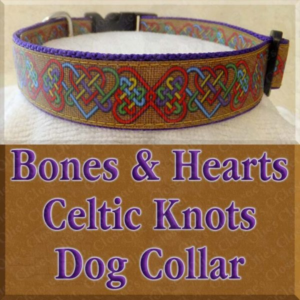 Gold Bones and Hearts Celtic Knots Designer Dog Collar Product Image No2