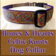 Gold Bones and Hearts Celtic Knots Designer Dog Collar Product Image No1