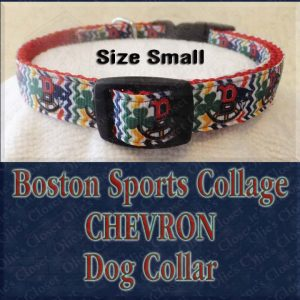 Boston Sports Teams Collage Chevron Size Small Designer Dog Collar Product Image No2