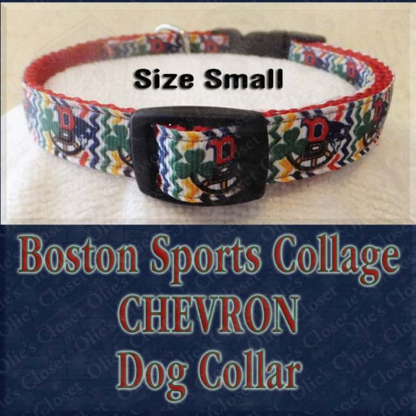 Boston Sports Teams Collage Chevron Size Small Designer Dog Collar Product Image No2
