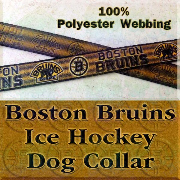 Boston Bruins Ice Hockey Polyester Webbing Designer Dog Collar Product Image No1