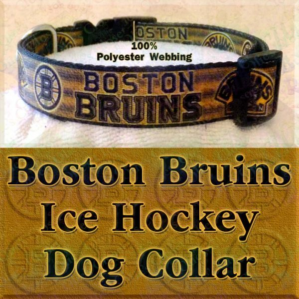 Boston Bruins Ice Hockey Polyester Webbing Designer Dog Collar Product Image No3