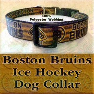 Boston Bruins Ice Hockey Polyester Webbing Designer Dog Collar Product Image No2