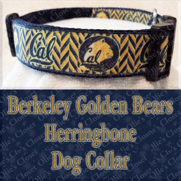 Berkeley Golden Bears Herringbone Dog Collar Product Image No1