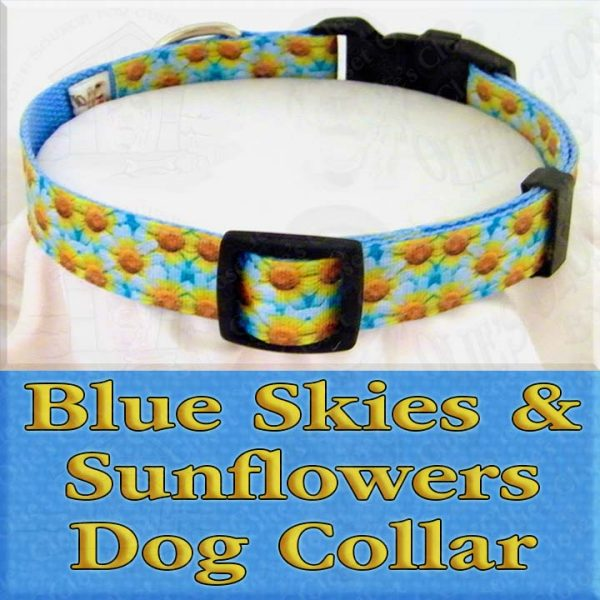 Blue Skies and Sunflowers Designer Dog Collar Product Image No1