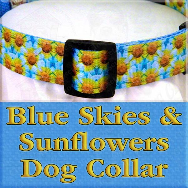 Blue Skies and Sunflowers Designer Dog Collar Product Image No2