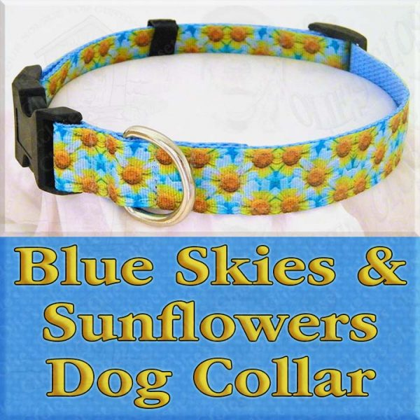 Blue Skies and Sunflowers Designer Dog Collar Product Image No3