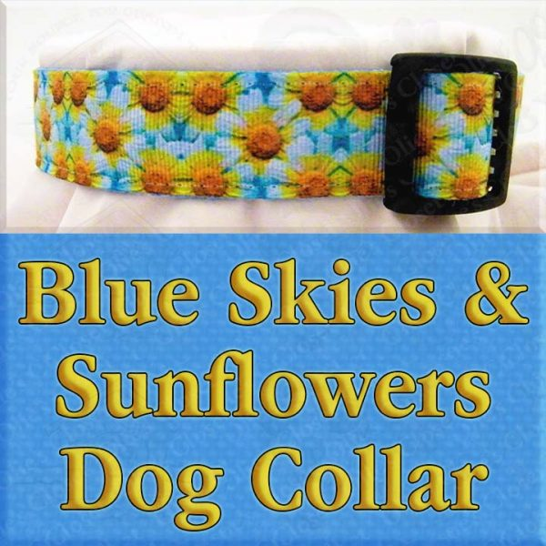 Blue Skies and Sunflowers Designer Dog Collar Product Image No4