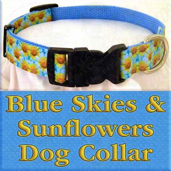 Blue Skies and Sunflowers Designer Dog Collar Product Image No5