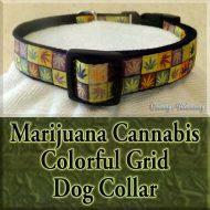 Marijuana Cannabis Colorful Grid Designer Dog Collar Product Image No1