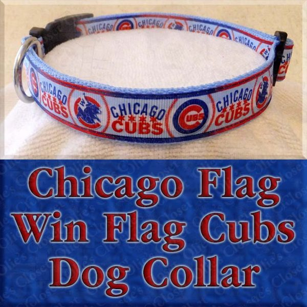 Chicago Cubs Win Flag Chicago Flag Designer Dog Collar Product Image No1