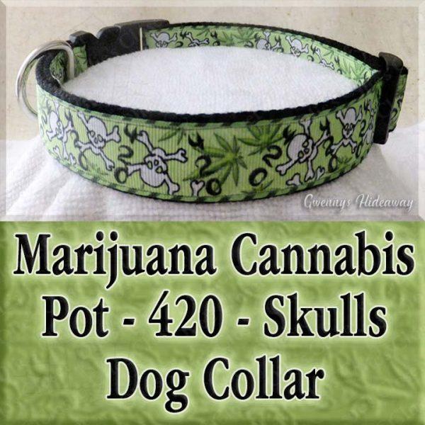 Cannabis Marijuana 420 Dog Collar Product Image No1
