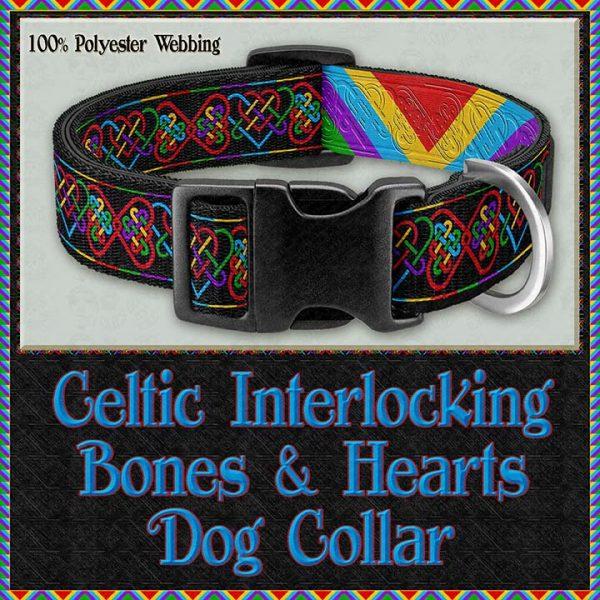 Celtic Interlocking Bone Hearts Designer Dog Collar Product Image No1