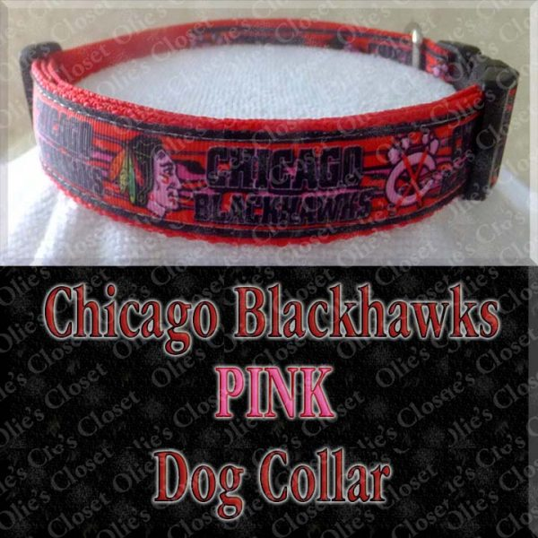 Chicago Blackhawks PINK Dog Collar Product Image No1