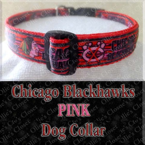 Chicago Blackhawks PINK Dog Collar Product Image No2
