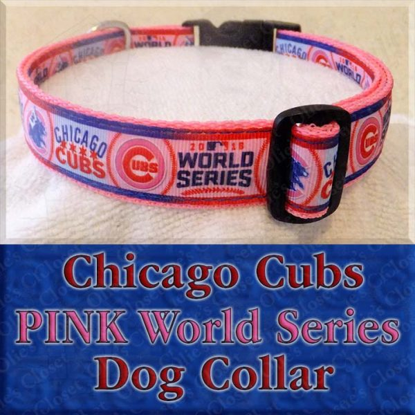 Chicago Cubs PINK World Series Dog Collar Product Image No1