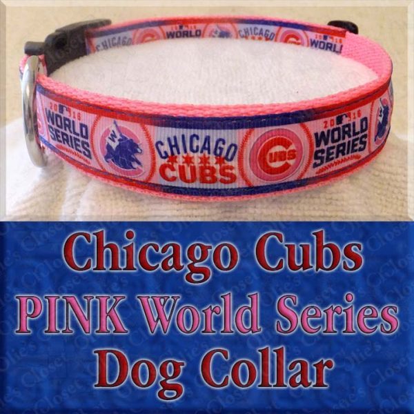 Chicago Cubs PINK World Series Dog Collar Product Image No2