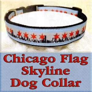 Chicago Flag Skyline Dog Collar Product Image No1
